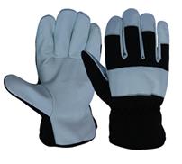 RĘKAWICE OCIEPLANE SKÓRA KOZIA Ocieplane całodłonicowe rękawice ze skóry licowej koziej, krój amerykański. Rękawice wykonane z miękkiej, wysokiej jakości licowej skóry koziej połączonej z materiałem drelichowym w części grzbietowej. Rozmiar: 10