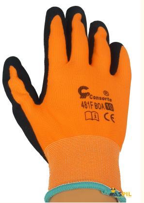 REKAWICE OCIEPLANE LATEKS SPIENIANY Rękawice ochronne BOA – ocieplane, oblane spienionym lateksem, dającym przyczepność i elastyczność. Wewnątrz warstwa ocieplenia typu frotte. Rozmiar 10