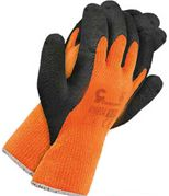 RĘKAWICE OCIEPLANE POMARAŃCZOWO-CZARNE Rękawice powlekane chropowatym lateksem. Wykonane z pętelkowej przędzy akrylowej. Zakończone ściągaczem. Rozmiar: 10