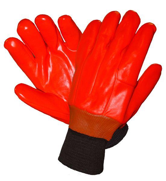 RĘKAWICE OCIEPLANE Z PCV ZAKOŃCZONE ŚCIĄGACZEM Rękawice z PCV ocieplane pianką. Podszewka z dzianiny. Zakończone ściągaczem. Kolor - fluorescencyjny pomarańczowy. Rozmiar: 10